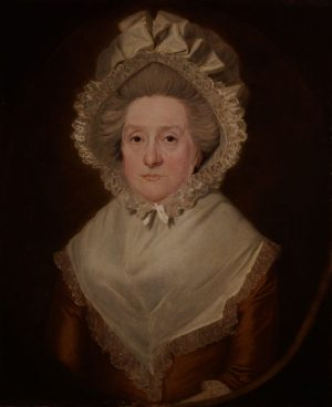 Portrait of a Lady, Wearing a Pink Dress, with White Collar and Bonnet