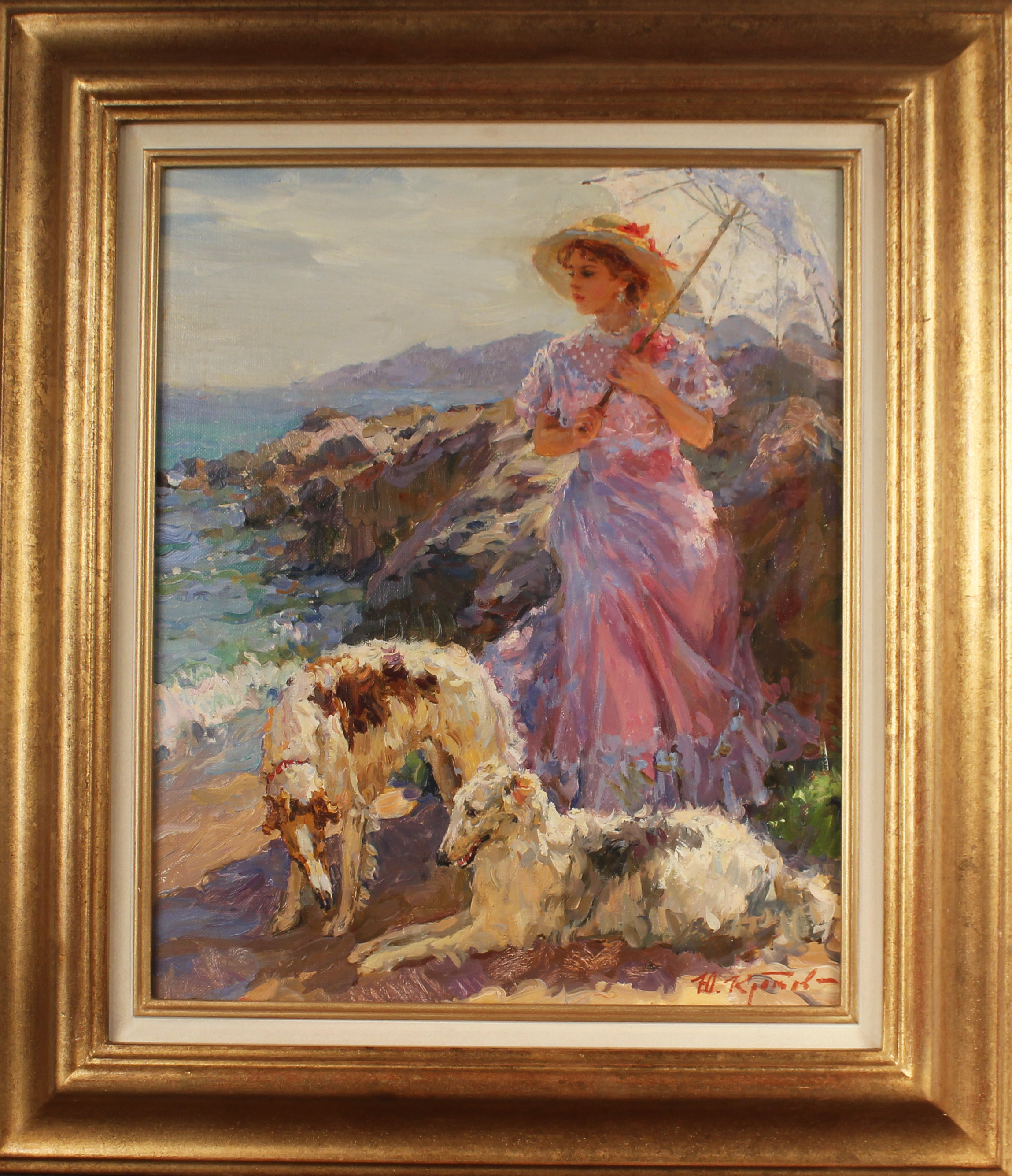 Elegant Lady with Dogs