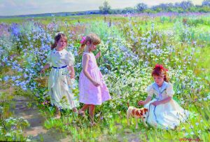 Young Girls with a Puppy, Walking Through a Flower Meadow