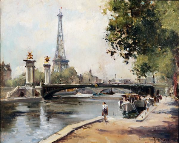 The Champs Elysees, and Le Pont Alexandre III with the Eiffel Tower