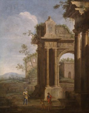An architectural capriccio of Roman ruins with figures Viviano Codazzi