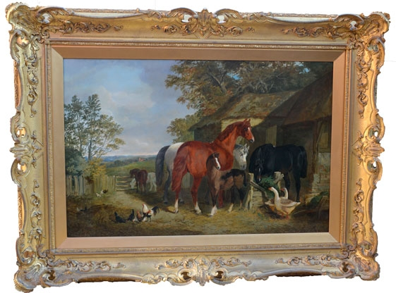 Farmyard Scene with Horses and Geese
