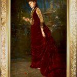 Portrait of a Lady Wearing a Burgundy Velvet Dress Holding a Pink Rose