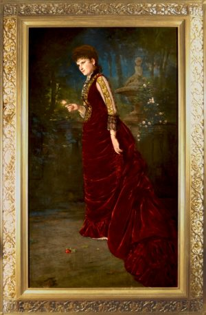 Portrait of a Lady Wearing a Burgundy Velvet Dress Holding a Pink Rose