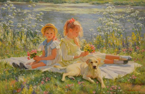 Girls by River Bank