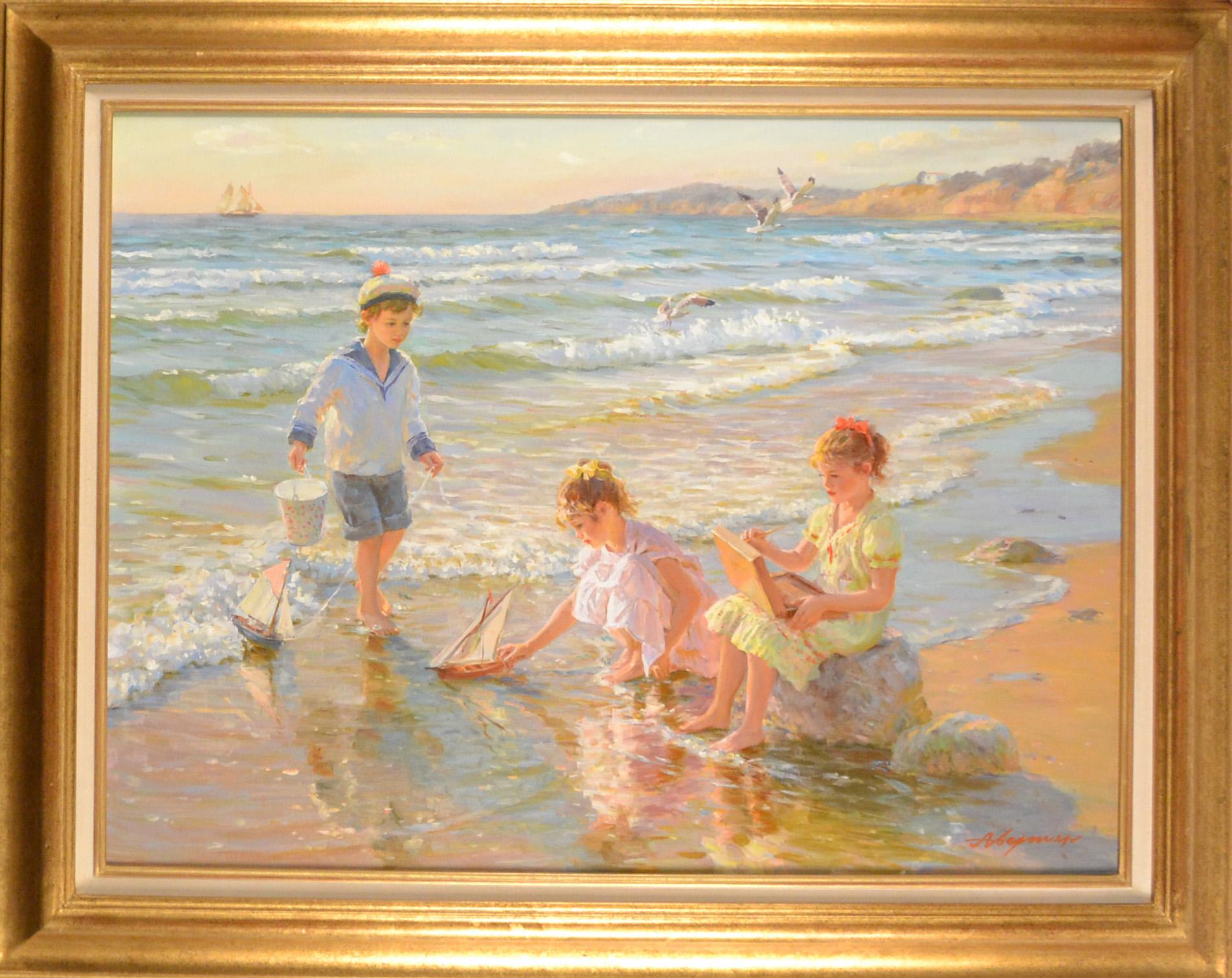 CHILDREN PLAYING ON THE BEACH ~ ALEXANDER AVERIN fr