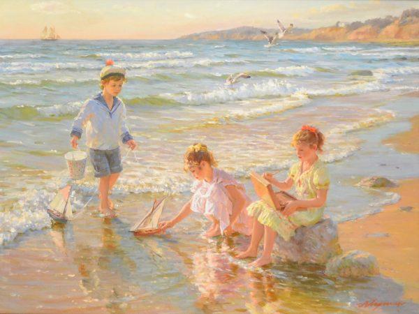 CHILDREN PLAYING ON THE BEACH ~ ALEXANDER AVERIN