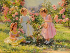 Three Girls in a Rose Garden