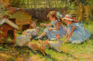 Young Girls with Rabbits