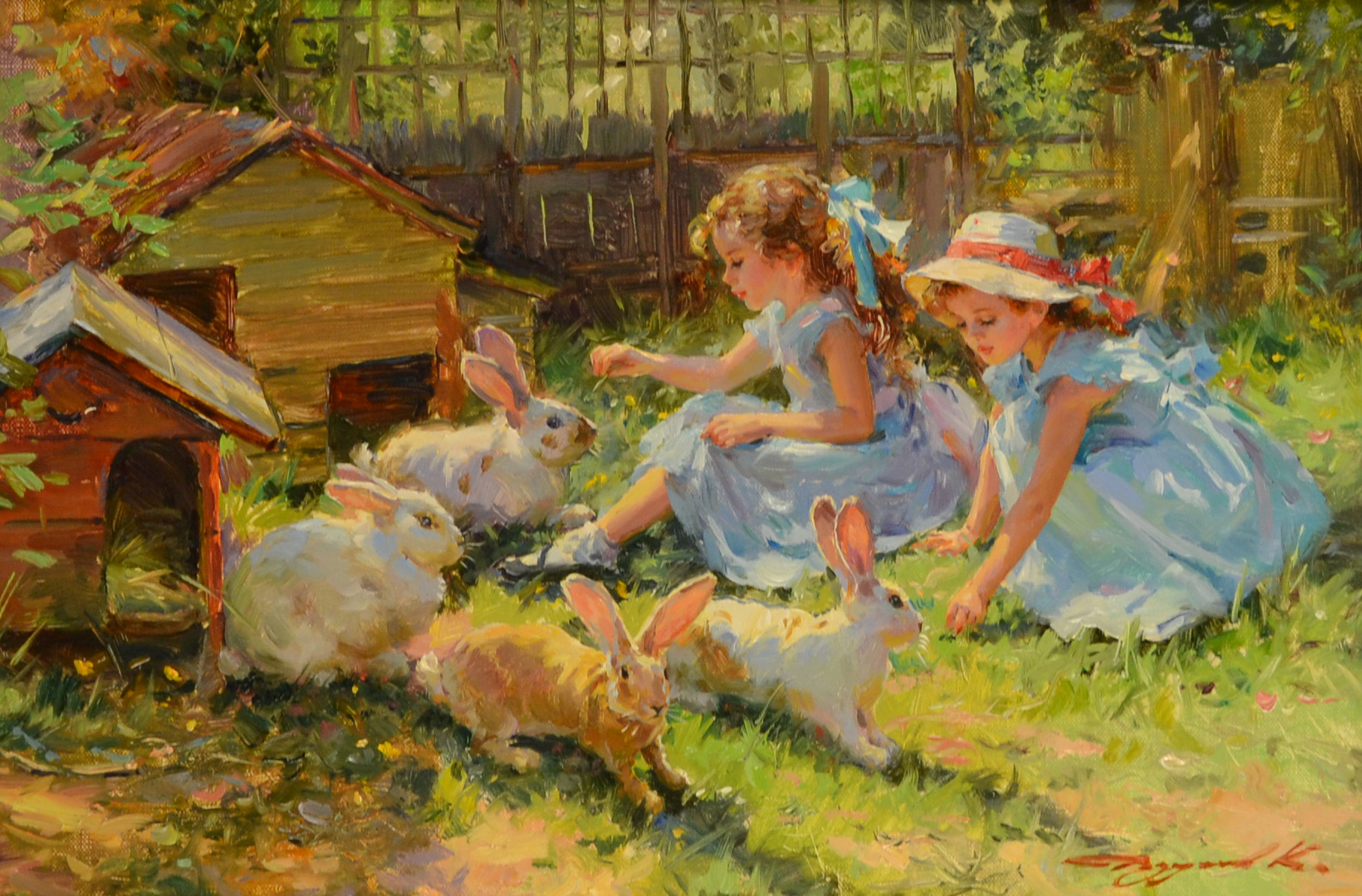 Artist young girl feeding rabbits, katrina kaif xxx bekni