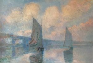 Sailing Boats in Mist on the Seine